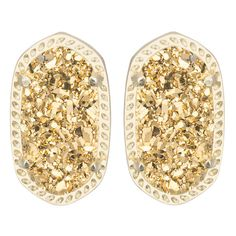 Kendra Scott Ellie Stud Earrings Gold Drusy ($65) ❤ liked on Polyvore featuring jewelry, earrings, yellow gold jewelry, stud earring set, gold earring set, druzy jewelry e gold jewellery