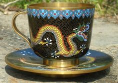 Antique Chinese dragon cloisonne cup & saucer by StarShineVintage