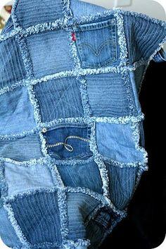 Джинсовые пледы, или Как не расставаться с любимыми джинсами - Ярмарка Мастеров - ручная работа, handmade