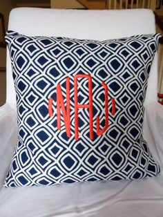 Custom Monogrammed Duralee Kilburn Navy & White Pillow Covers. $50.00, via Etsy.