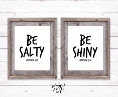 Be Salty & Be Shiny Print Set, 8x10, Instant Download, Printable by playfulprintsart on Etsy Rustic Christmas, Christmas Cards, Childrens Room Decor, Quote Prints, Order Prints, Decoration, Girl Room, Room Ideas, Printables