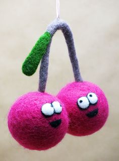 Very berry. Cherries. The felt berries. Felted toy