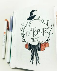 deckblatt schule Halloween theme bullet journal layouts including October monthly cover page by Planner Bullet Journal, Bullet Journal Cover Page, Bullet Journal Writing, Bullet Journal Ideas Pages, Bullet Journal Spread, Journal Covers, Bullet Journal Inspiration, Journal Pages, Bullet Journals