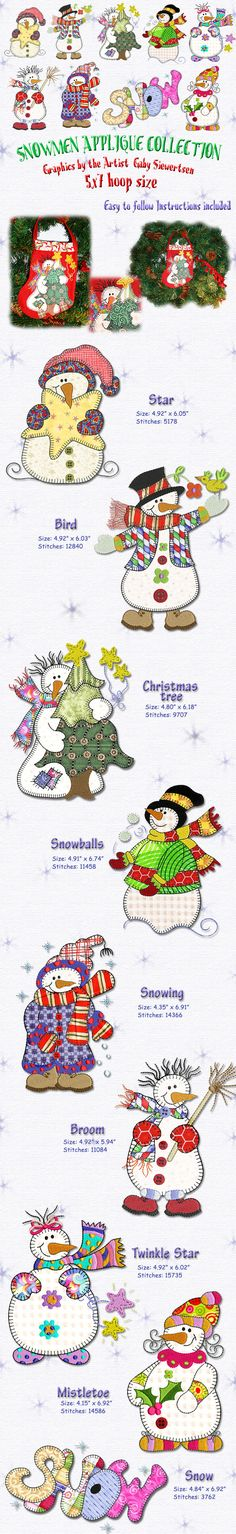 In a delightful country style, these adorable snowmen seem to be shaped from the cold by the warmth of loving hearts. The designs in this collection fit a 5x7 hoop and all require the use of applique technique, which is explained in detail in the included instructions.