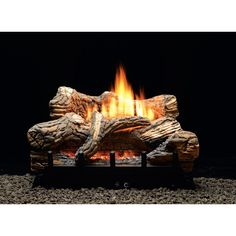 White Mountain Hearth by Empire 30 Inch Flint Hill Gas Log Set with Vent Free Propane Contour Burner - Manual Safety Pilot with Thermostatic Control Vent Free Gas Fireplace, Gas Fireplace Logs, Black Fireplace, Small Fireplace, Fireplaces, Fireplace Redo, Fireplace Ideas, Ventless Gas Logs, Ceramic Fiber
