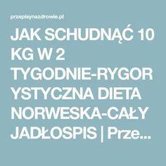JAK SCHUDNĄĆ 10 KG W 2 TYGODNIE-RYGORYSTYCZNA DIETA NORWESKA-CAŁY JADŁOSPIS   PrzepisyNaZdrowie.pl, domowe sposoby, proste przepisy