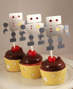 Cupcake picks for a robot themed party