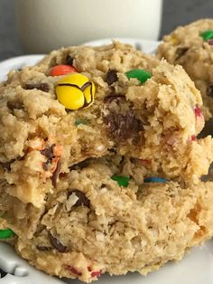 Cake mix cookies with a monster cookie twist. A yellow cake mix, peanut butter, oats, chocolate chips, and m&m's create a thick soft-baked cookie. Cake Mix Desserts, Cake Mix Cookie Recipes, Cookie Desserts, Delicious Desserts, Dessert Recipes, Yummy Food, Cake Mix Brownies, Cake Mix Bars, Yellow Cake Mix Cookies