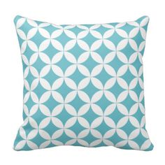 Quarter circles links pattern aqua white pillow