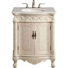 """Danville 27""""x21""""x35"""" 2-Door Vanity Cabinet, Antique White"""