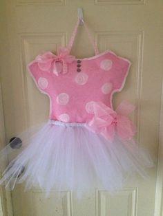 Burlap onsie/leotard door hanger with tutu for baby by OhBurlap, $40.00