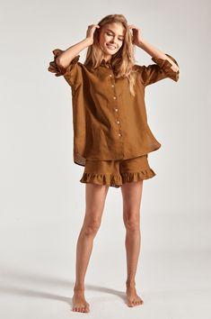 Linen Lounge Suit Dijon Orange – Sleeper