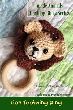 The lion is said to be the king of the jungle, right? So I'd say it's about time I designed a Lion Teething Ring. Plus, stuffed lions are just plain adorable! Crochet Lion, Crochet For Kids, Crochet Baby, Free Crochet, Crochet Crafts, Yarn Crafts, Crochet Toys, Crochet Projects, Crochet Animals