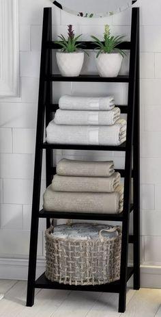 Legend Big DIY Bathroom Storage Ideas # Storage Ideas # bathroom # tool - DIY Home Decor Bathroom Towel Storage, Vanity Bathroom, Bathroom Shelves For Towels, Design Bathroom, Towel Rack Bathroom, Storage Ideas For Bathroom, Bathroom Styling, Bathroom Ladder, Bathroom Canvas