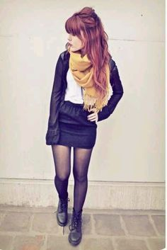 Wool Skirt with Cinched Waistband, White Top, Black Cardigan, Sheer Black Tights, Yellow Scarf, Black Combat Boots, Half Hair Up-Half Down, Redhead.