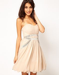 Enlarge Little Mistress Embellished Trim Bustier Mini Dress. For the party.