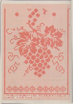 La striscia con l'uva realizzata a rete filet misura circa cm 35 x 70. Per prepararla ci occorrono g 100 di cotone n. 12 e 1 uncinetto n...