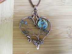 Heart Tree of Life Pendant Abalone Shell Disc Labradorite buttons Wrapped in Oxidized Copper Wire