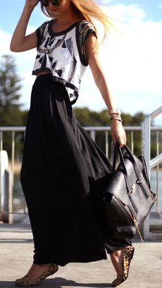 Long Maxi Skirt + Animal Print Flats ♡