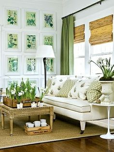 Light with green accents. Just need it to be Kelly green and better patterns. [i like this idea for my living room wall.]ly