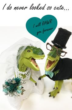 animal cake toppers adorned for life's celebrations by WMCoutureDesigns Handmade Wedding, Handmade Shop, Wedding Cake Toppers, Wedding Cakes, Dinosaur Wedding, October Wedding, Jokers, Happily Ever After, Wedding Accessories