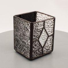 Black Diamond Stained Glass Votive Candle Holder by Kolor