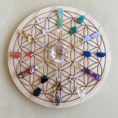 'All Chakras' Crystal Grid  Purpose: For aligning and balancing all 7 chakras for Power, Creation, Willpower, Love, Expression, Wisdom and Bliss.  Crystals: Smokey Quartz, Black Tourmaline, Red Jasper, Carnelian, Citrine, Rose Quartz, Aventurine, Amazonite, Blue Lace Agate, Lapis, Amethyst and Clear Quartz  Flower of Life Symbol: A Universal symbol representing the patterns of Creation. Used for manifesting and transformation.