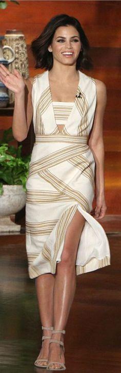 43becac93589 Who made Jenna Dewan Tatum s white stripe dress