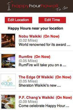 Happy Hour Hawaii ~ Menus, times, locations for Happy Hours on Oahu, Maui, Big Island, and Kauai. #Hawaii #Free #App