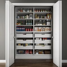 Modifi 60 in. W x 15 in. D x 84 in. H Dual Wood Pantry Combination Organizer Kit with Roll-Outs in White-ENPC60C-PW - The Home Depot