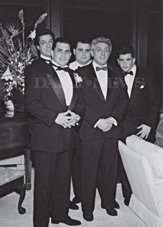 Another rare photo from the wedding of John (Junior) Gotti shows (l.) Joseph Albanese, John (Junior) Gotti, Carmine Agnello, Jackie D'Amico and Peter Gotti in Gangster Party, Real Gangster, Mafia Gangster, Mafia Crime, Mob Wives, John Junior, Al Capone, Neutral, Tough Guy
