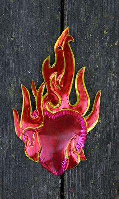 Mexican Folk Art Tin Ornaments Milagros, Flaming Heart, Hand Made, Love Token