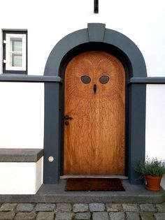 This door in the shape of an owl is in Hellerup just outside Copenhagen. From author Frans de Waal Facebook page.
