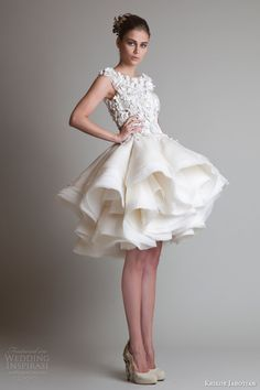 krikor jabotian fall 2013 couture sleeveless short wedding dress