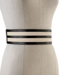 Snake-Embossed/Patent Trim Stretch Belt - White House/Black Market