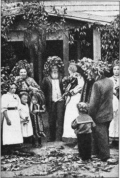 """The feast of S. John's Day, June 24, called by the Lettish people """"Ligo,"""" is one of the merriest Latvian holidays. It is on this occasion that the country people decorate themselves and their houses with garlands of foliage, preferably oak leaves. Old and young participate in this festival, which is a remnant of pagan celebrations in connexion with the ancient nature-worship of the Lettish (The Secret Museum of Mankind. New York, Manhattan House, 1935)"""