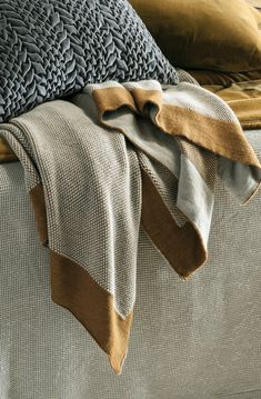 Blended from a soft alpaca and wool mix, the Komorebi antique gold throw is super soft to snuggle up under. Bed Linen Design, Bed Design, Linen Fabric, Linen Bedding, Gold Throw, Fine Linens, Alpaca Wool, Contemporary Interior, Antique Gold
