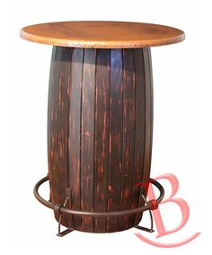 Rustic Aaron Copper Top, Bistro Table Base w/Footrest, Barrel Shape Western #Rustic