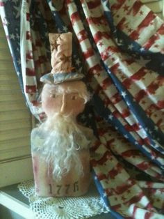 Americana Patriotic Uncle Sam 1776 Shelf Sitter Red by VintageHare, $15.88