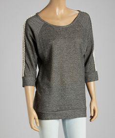 Another great find on #zulily! Charcoal Cutout Three-Quarter Sleeve Top by Chris & Carol #zulilyfinds