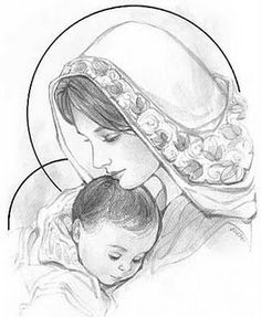 Image result for sketch of mary with baby jesus