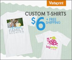 Check out this bargain on customized t-shirts with photos for only $6 plus FREE Shipping! These make great gift ideas! See all the cool designs to choose from. #bargain #Vistaprint