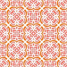 Geometrische Art-Deco-Muster Mit Floralen Organischen Formen In Leuchtenden Korallen Rote Farbe. Lizenzfrei Nutzbare Vektorgrafiken, Clip Arts, Illustrationen. Image 27437755.