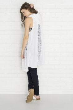9fc189b40bd5e Long white sleeveless cardigan with hood   lace - Fashion Tops - Tops -  Clothing Lace