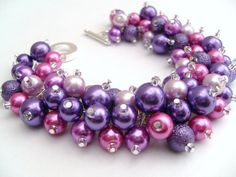 Bridesmaid Jewelry Purple and Pink Pearl Beaded by KIMMSMITH, $19.00