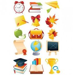 School icons education detailed set