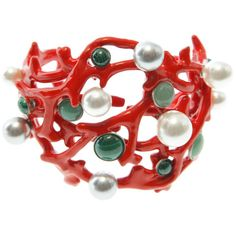 Lanvin jewellery RED coral cuff with black, grey, and white pearls.