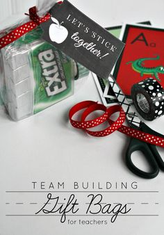 """""""Let's Stick Together"""" Team Building Gift Bags Teacher Team Building, Team Building Activities, Teacher Appreciation Gifts, Teacher Gifts, Retreat Gifts, Retreat Ideas, Dance Team Gifts, Preschool Director, Team Motivation"""