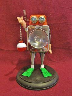 Frog Man Ribbit Robot Assemblage Art