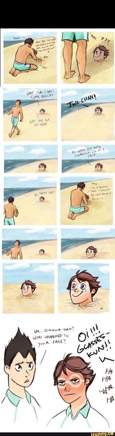haikyuu, oikawa, iwaizumi, iwaoi, sunblock, sand